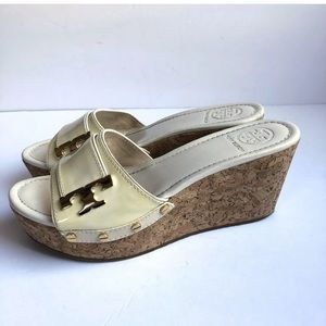 Tory Burch Pamela Ivory Patent Leather Cork Wedge